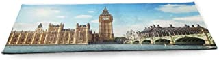 WinfreyDecor London Fitness Yoga Mat Conventional British Characteristics Big Ben Red Bus Tower and Bridge Banner Sized Right for Your Fitness Red Ivory Sepia