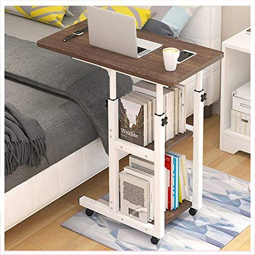 LDM Mesa de sobre Cama con Ruedas Regulable en Altura 14cm, Escritorio para portátil en Forma de C, con estantes Double_Storage, Mesa Auxiliar para sofá Cama con Rueda móvil para Oficina y hogar