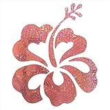 Pink Hibiscus Hawaiian 5' Hawaii Floral Flower Glitter Holographic Hologram Decals Decal Vinyl Sticker for Laptop Notebook Tablet Fridge Book
