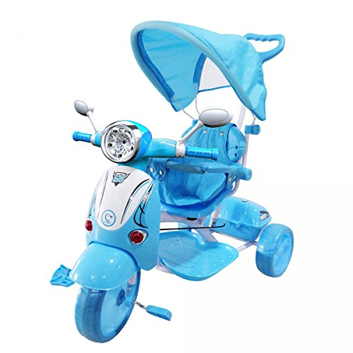 LAMAS TOYS Farano Store - Triciclo VESPINA Azzurro con Manico E CAPPOTTINA