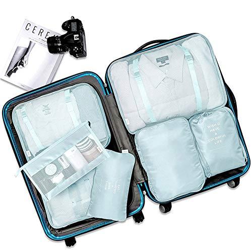 Organizador De Equipaje Viaje 8 en 1 Set, Multifuncional Bolsa para Maletas Organizadoras Impermeable Gran Transpirable Travel Storage Bags Para Viaje con Bolsa de Zapato Cosmético (Azul Cian)