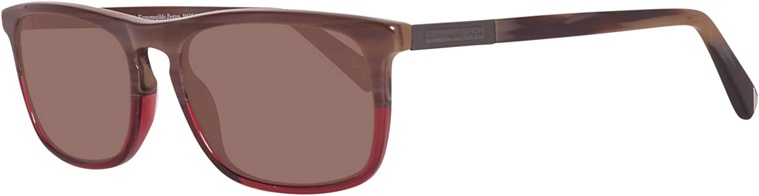 Ermenegildo Zegna EZ0045 S 65J Burgundy Square Sunglasses for Womens