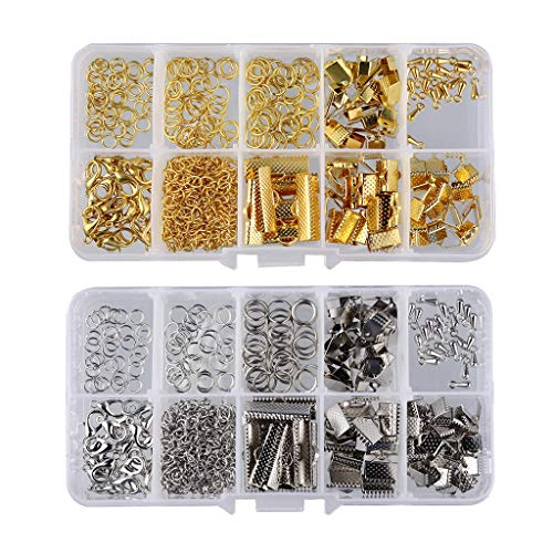 kowaku 2 Boxes DIY Jewelry Ribbon End Clasp Assorted Kit Findings Supplies Crafts
