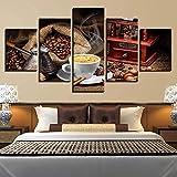 RAINSGIFT 5 Paneles de decoración Pinturas Impresión De Granos De Café Taza De Café Comida Postre Cocina Café artística Imagen gráfica decoración de hogar