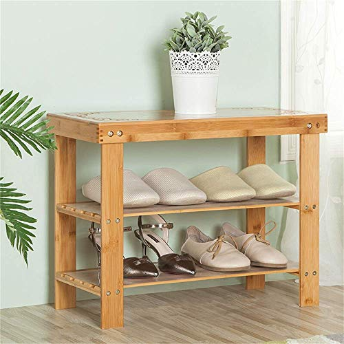 HLL Bamboo Shoes Bench Practical Bamboo Shoe Rack Shoe Cabinet Wooden Racks Bamboo Storage Rack Stools European Shoes Bench Sofa Bench Carved Models,58.5x27x45cm,58.5x27x45cm