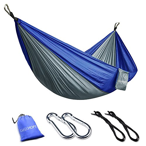 GEEKHOM Hammock for 2 Person, Outdoor Camping Hammocks 270x140 cm 300kg Load Capacity with Tree Straps and Aluminum Carabiners for Garden Travel Backpacking Hiking Beach (Blue Gray)
