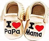 KIRALOVE - Zapatos infantiles para recién nacidos I Love Mama Papa Ti Amo Mamma Papa Dorado Size: 19 EU