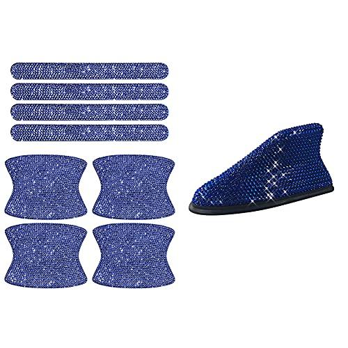 Decorazioni Esterne per Auto,MoreChioce 8 pezzi Bling Maniglia Della Portiera Dell'auto Adesivo per Protezione Antigraffio Vernice e Antenna per Auto Universale Pinna Squalo,blu