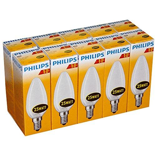 10 x Philips Glühlampe Glühbirne Kerze 25W E14 MATT Glühbirnen Glühlampen Kerzen 25 Watt