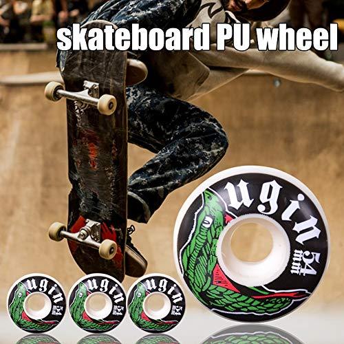 AAJTCT Duurzame 4 Stks Skateboard Wielen Duurzame PU Lederen Smooth Tire Eenvoudige Installatie Vervanging Lager Hoge Hardheid Skateboard Wiel Professionele Vervangende Onderdelen