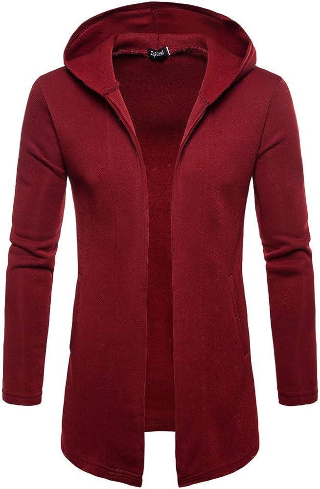 Mens Longline Hooded Cardigan Full Zipper Lightweight Slim Casual Long Sleeve Pullover Sweatshirts Outwear Jacket Coats