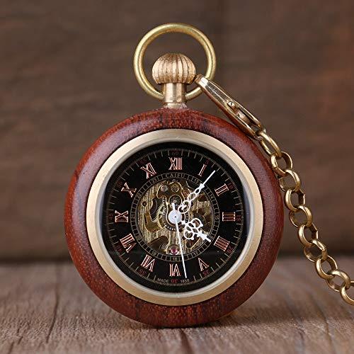CAIDAI&YL Reloj de bolsillo clásico Steampunk de madera mecánico de mano de viento con números romanos de lujo FOB cadena reloj unisex