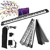 Tastiera Piano elettronico pieghevole Fold,Vogvigo 88 Principiante Tasto di Pianoforte Digitale Tastiera del Pianoforte,con 128 toni/Bluetooth/pedale sustain/Smart APP per esercitarsi