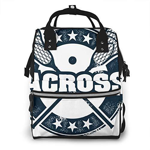Baby Wickelrucksack Lacrosse Sport, Multifunktional Wickeltasche Reise Rucksack Große Kapazität Babytasche Mit Wickelunterlage, Passform für Kinderwage