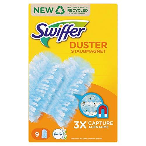 Swiffer Staubmagnet (9 Tücher) mit Febreze Frische, Staubwedel ideal gegen Staub, Tierhaare & Allergene