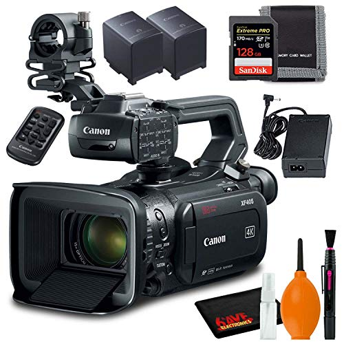 Best Prices! Canon XF405-E Camcorder (PAL) with 128GB SDXC Memory Card, Memory Card Wallet, Extra Ba...