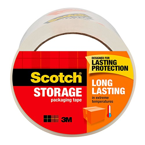 """Scotch Long Lasting Storage Packaging Tape, 1.88"""" x 54.6 yd, Designed for Storage and Packing, Stays Sealed in Weather Extremes, 3"""" Core, Clear, 1 Roll (3650)"""