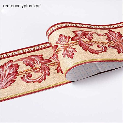 XYCC Wandaufkleber Wasserdichte Fußleiste Selbstklebend 5m Lange Taille Bordüre Wandaufkleber 3d Reliefrotes Eukalyptusblatt
