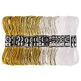 RosewineC, 24 fili metallici da ricamo per punto croce, filo da ricamo per bricolage, filo da cucito oro e argento, filo di poliestere per ricamo e accessori da cucito, 8 m, 12 fili, (4 colori)