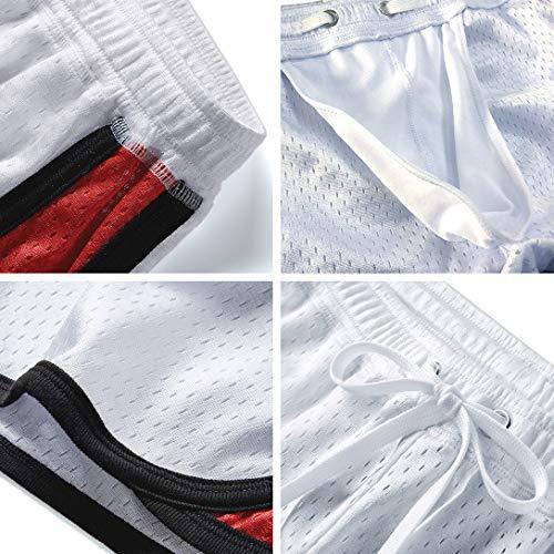 AIMPACT Mens Swim Shorts Sexy Swimwear Short Shorts Square Trunks Swimsuit with Liner(BlackGrey XL)