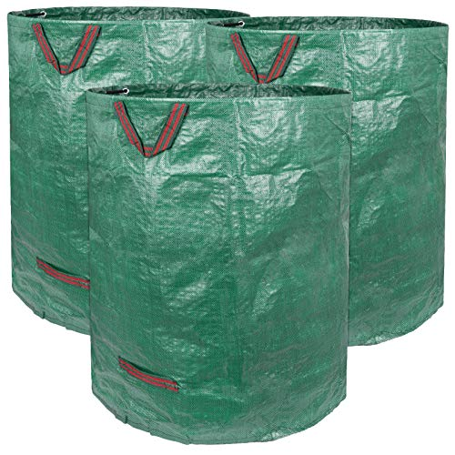 Decorlife Yard Waste Bag, 3 Pack 132 Gallon Reusable Leaf Bag, Heavy Duty Reusable Garden Waste Bag for Collecting Leaves, Paper, or Trash, Durable Handles and Double Bottom Layers