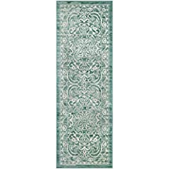 2 x 6 Hallway Runner Rug - Traditional Vintage style with a dual-colored design that gives off a luster-like sheen. Timeless Design with 100% Nylon Pile for Added Durability and Fade Resistance 0.44 Inch Pile Height, Low Profile to be Placed in Any S...