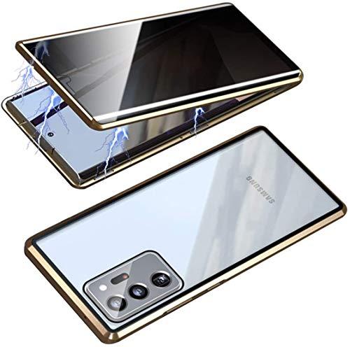 ONEYMM Funda para Samsung Galaxy S20 FE 5G Carcasa Adsorción Magnética Metal Caso Cobertura Anti espía Vidrio Templado Case Cover,Oro,for Samsung S20 FE