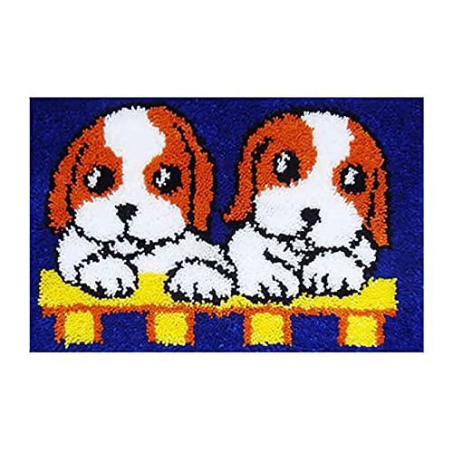 Latch Hook Rug Kits De Arte Hecho A Mano Tapiz De Conjunto De Fabricación De Cojines para Los Adultos De Los Niños Principiante Crochet Yarn Kits De Regalo, Perros, 50 × 38 Cm