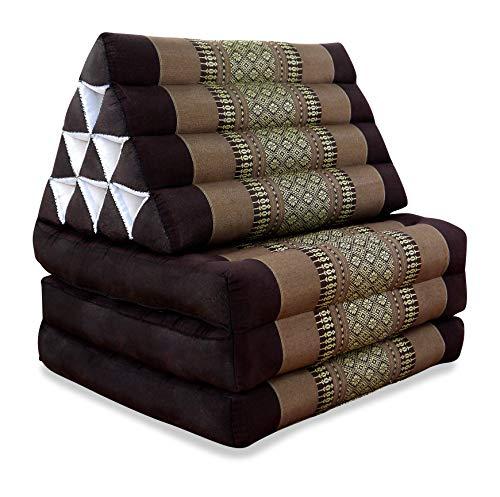 livasia Thaikissen mit 3 Auflagen, Kapok Dreieckskissen, Sitzkissen, Liegematte, Thaimatte (braun)