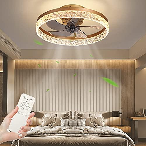 30W Ventilador de Techo con iluminación, Regulable Lámpara de Techo con Control Remoto,3 temperatura de color & 4 velocidad del viento Moderna Luz de Techo para Comedor, Dormitorio (Ø50cm Dorado)