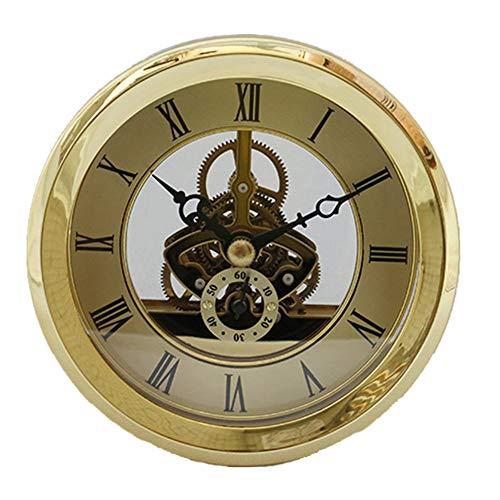 DEEWISH Movimento, Orologio da Scheletro Trasparente Inserti da Incasso Orologio da Tavolo al Quarzo con Orologio Orologio da Tavolo in Stile Europeo di Alta qualità (Diametro 103mm, Oro)