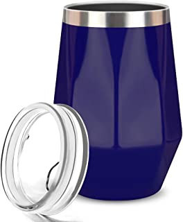 Wine Tumbler, FlatLED Insulated Wine Glass, Stainless Steel Stemless Vacuum Outdoor Wine Glasses with Lid, 12OZ, Unbreakable, Portable, Perfect for Home, Travel, Office or Camping, (Navy Blue)