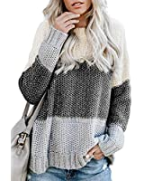 Arainlo Women's 2019 Fashion Splicing Color Plus Size Solid Pullover Knitted Sweater Large Gray