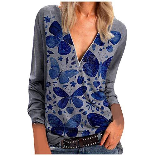 T-Shirt Top Donna Moda Manica Lunga con Scollo a V Stampato (M,6Blu)