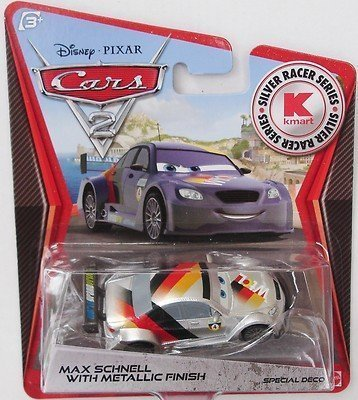 Disney Pixar Cars 2 - Kmart Silver Racer Series - Max Schnell With Metallic Finish by Mattel