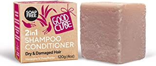 Good Cube 2in1 Shampoo Conditioner for Dry & Damaged Hair | Scented Bergamot & Geranium | 1 bar (4 oz)