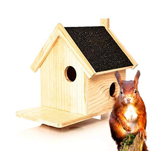 Skojig© XXL Eichhörnchen Kobel aus Naturholz - Nistkasten ca. 39x33x34,5cm | Nest für wildlebende Eichhörnchen : Futterspeicher Futterstelle Futterstation Haus