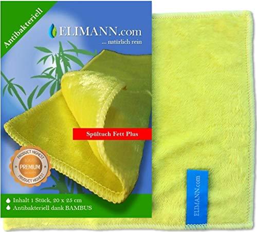 ELIMANN Bambus Spültuch Fett Plus, Spüllappen waschbar Vorreinigungstuch ANTIBAKTERIELLES Wischtuch Abwaschlappen