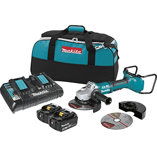 """Makita XAG12PT1 5.0Ah 18V X2 LXT Lithium-Ion 36V Brushless Cordless 7"""" Paddle Switch Cut-Off/Angle Grinder Kit, with Electric Brake"""