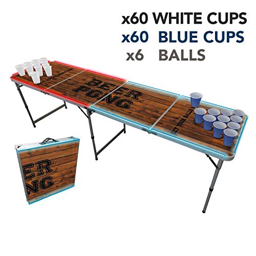 Offizieller Light Beer Pong Tisch Set | Mit LED Beleuchtung | LED Beer Pong Full Pack | Inkl. 1 Beer Pong Tisch + 120 Becher 53cl (60 Weiß & 60 Blau) + 6 Ping-Pong-Bälle | Premium Qualität
