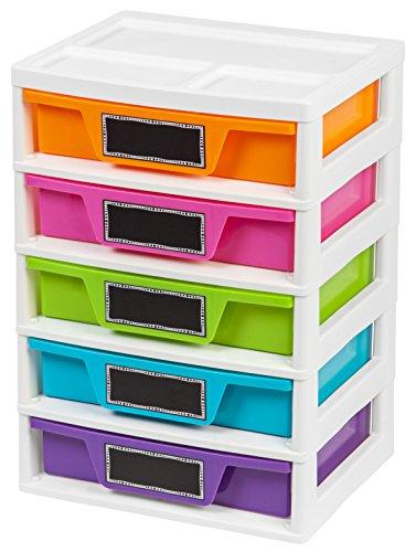 IRIS USA PJD-305 5 Drawer Storage & Organizer Chest, Assorted Colors, Girl, Pastel
