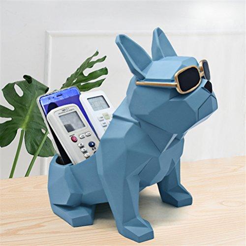 GFYWZ Desktop Storage Box Resin Modeling Dog Home Office Desktop Tidy Organizer Box per Telecomando Supporto per Telefono Cellulare,Blue1