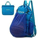 Gonex Basketball Backpack for Boys, Foldable Soccer Backpack Drawstring Gym Bag Sackpack Sports Sack with Detachable Ball Mesh Bag for Volleyball Baseball Gym Yoga, Youth Teens Men Women, Blue