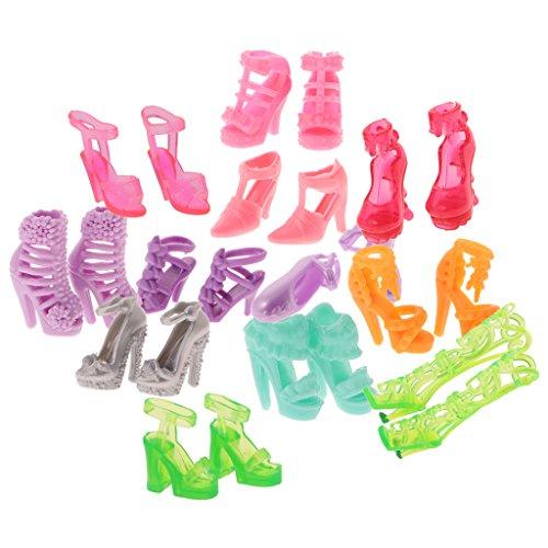MagiDeal 12 Pezzi Bambole Scarpe Moda Stile Multiplo Tacco Alto Sandali Stivali Scarpa Basse Elegante Disegno PVC Multicolori per
