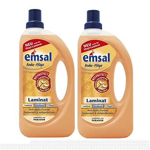 2x emsal Boden-Pflege Laminat 1 Liter mit Bioprotect - für Laminat, Linoleum & Vinyl