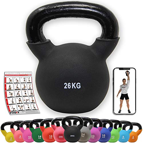 POWRX Kettlebell ghisa 26 kg - Ideale per Esercizi di »Functional Fitness« - Rivestimento in Neoprene & Presa Antiscivolo + PDF Workout (Nero)