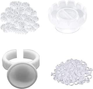 100Pcs Lash Glue Ring with 100Pcs Lash Glue Holder, Easy to Make Fan