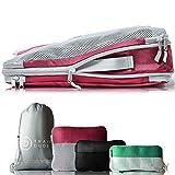 TRAVEL DUDE Packwürfel Set mit Kompression | Packing Cubes | Packtaschen Set & Gepäck Organizer für Rucksack & Koffer | Extra leichte Kleidertaschen (Mehrfarbig, 4-teilig)