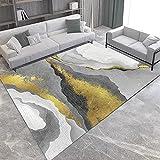 IOWLDMW Alfombra de Pelo Corto Playa Creativa Dorada Gris Blanca...