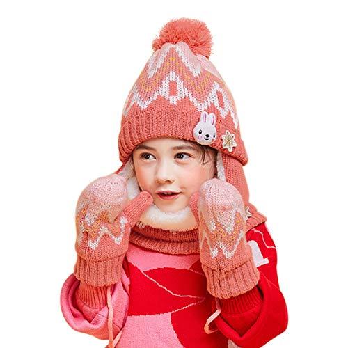 DORRISO Enfant Casquette Gants Écharpe Casquettes A Set Tomber Hiver Printemps Garçon Fille Bébé Naissance Mignonne Petit Pompon Chapeaux,taille unique,Rose